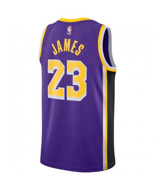 Men's Los Angeles Lakers James Engro sports Purple Replica Jersey